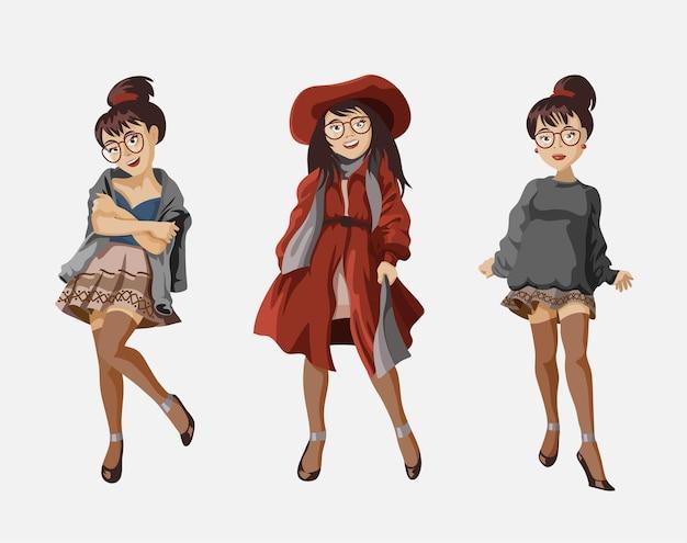 Satz modefrau in trendiger freizeitkleidung. modisches mädchen.