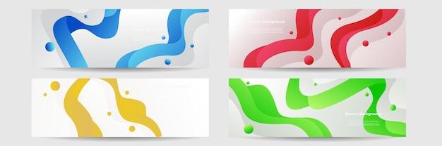 Satz moderne bunte fahnenschablone. blaues, rotes, grünes und orangefarbenes bannerdesign.