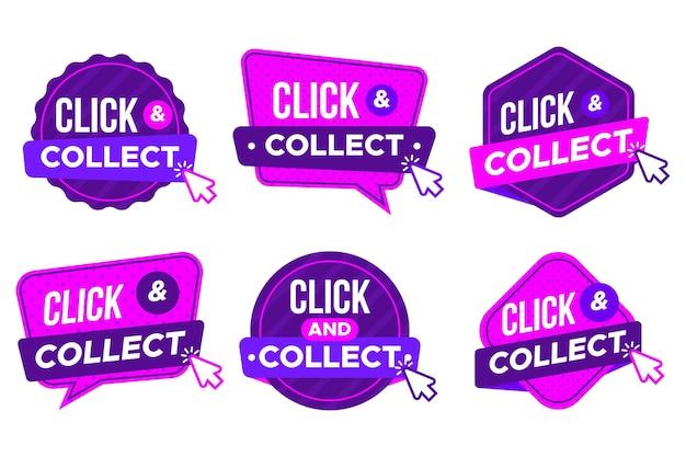 Satz moderne detaillierte klick- und sammelschilder