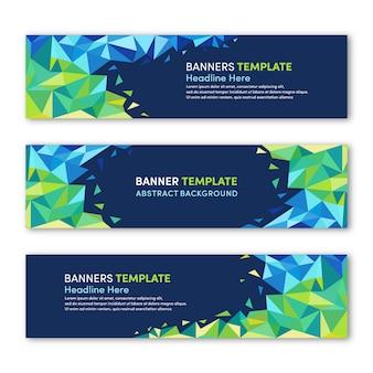 Satz moderne fahnenschablone mit frischer grüner polygonaler hintergrunddesignfarbe