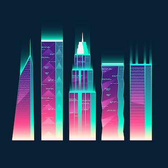 Satz moderne gebäude in der karikaturart. städtische wolkenkratzer in neonfarben für das äußere der stadt