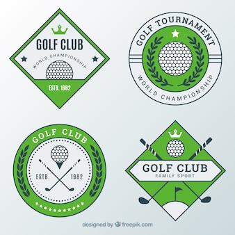 Satz moderne grüne golfaufkleber