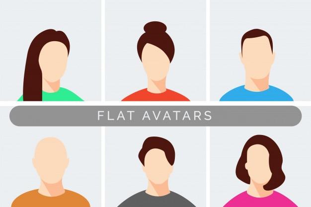 Satz moderne männliche und weibliche avataras des geschäfts