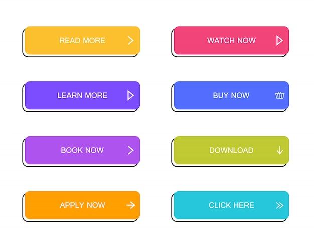 Satz moderne materialstilschaltflächen für website, mobile app und infografik. verschiedene verlaufsfarben. moderner flacher stil