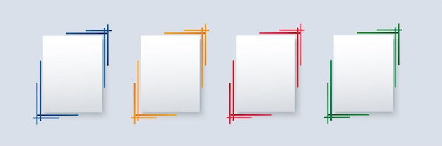 Satz moderne quadratische isolierte farbrahmenschablone
