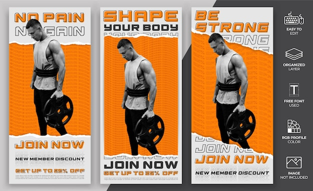 Satz moderne social media story-vorlage. die social media-vorlage für das fitnessstudio kann für werbung und marketing verwendet werden.