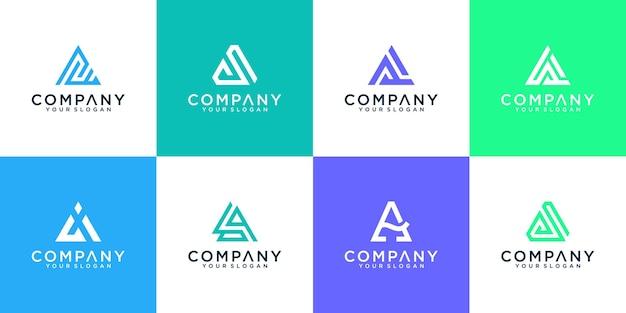 Satz moderner abstrakter buchstabe eine logoinspiration