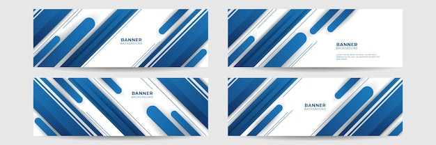 Satz moderner abstrakter farbverlauf dunkelblauer bannerhintergrund