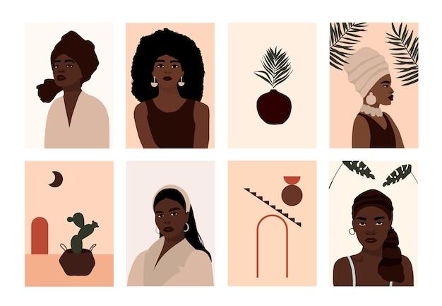 Satz moderner afroamerikanischer frau steht porträts gegenüber