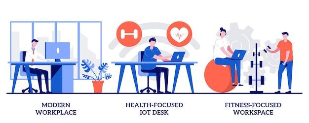 Satz moderner arbeitsplatz, gesundheitsorientierte iot-schreibtische, fitnessorientierter lebensstil