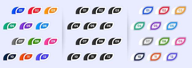Satz moderner aufzählungszeichen von eins bis zwölf