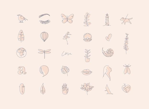 Satz moderner grafikdesignelemente im minimalistischen kunstlinienstil, der beige gedämpfte töne zeichnet.