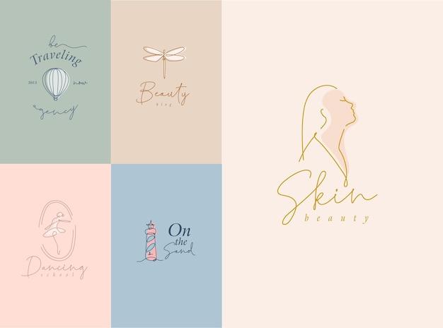 Satz moderner grafikdesignsymbole mit schriftzug im minimalistischen kunstlinienstil
