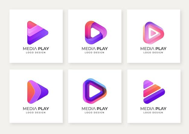Satz moderner media play logo-designvorlagen