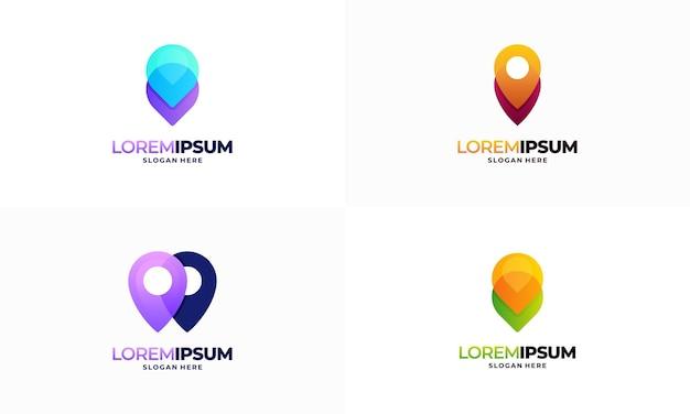 Satz moderner pin-point-logodesigns vektor, zeiger-navigationslogoschablonensymbol-symbol
