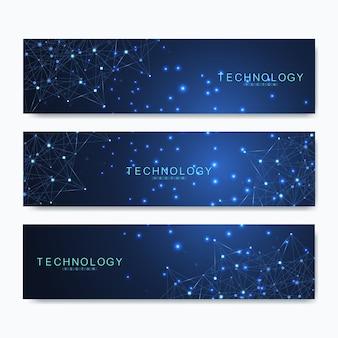 Satz moderner wissenschaftlicher banner. moderne abstrakte hintergrundmolekülstruktur für medizin, technologie, chemie, wissenschaft. linien und punkte verbinden.