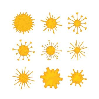 Satz moleküle verschiedener viren isoliert auf weißem hintergrund. ausbruch des coronavirus 2019-ncov. konzept der pandemie-epidemiologie. flache vektorgrafik.