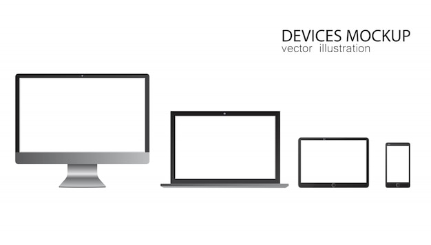Satz monitor, tablet, laptop, smartphone. illustration in realistischem design.