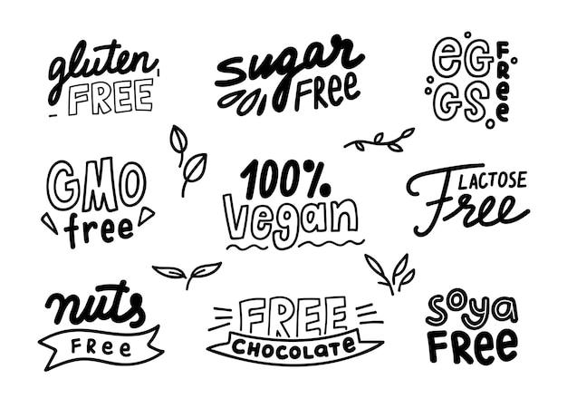 Satz monochromer etiketten für allergenprodukte, die frei von gvo, schokolade, zucker und laktose, nüssen, soja und gluten sind. karikatur flache illustration