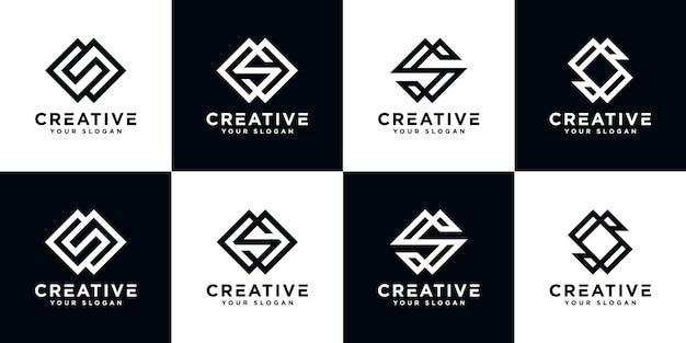 Satz monogramm abstrakte logo-designschablone des kreativen buchstabens