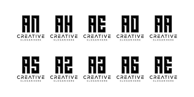 Satz monogramm anfangsbuchstabe eine logo-vorlage
