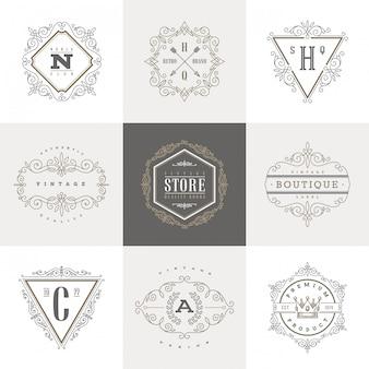 Satz monogramm-logo-schablone mit kalligraphischen eleganten verzierungselementen des schnörkels.