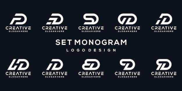 Satz monogrammbuchstabe d logo-vorlage