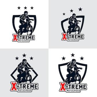 Satz motocross freestyle logo abzeichen