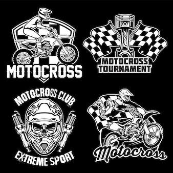 Satz motorcross-abzeichenentwurf lokalisiert auf schwarz