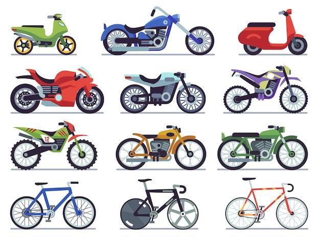 Satz motorräder und fahrräder im flachen design