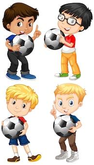 Satz multikultureller junge, der fußball hält