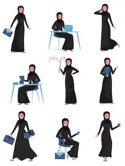 Satz muslimische geschäftsfrau in verschiedenen aktionen. arbeit im büro. junges süßes mädchen im langen schwarzen kleid und im hijab