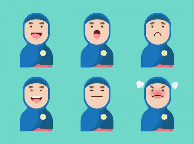 Satz muslimischer frauen avatar