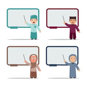 Satz muslimischer lehrer, die auf eine whiteboard-vektorillustration zeigen