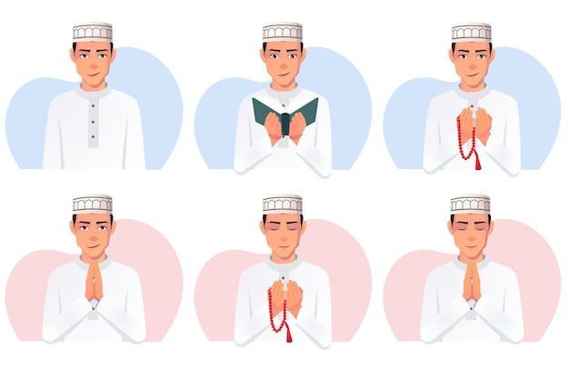 Satz muslimischer mann, der weißes thobe-kleid und taqiyah-hut trägt
