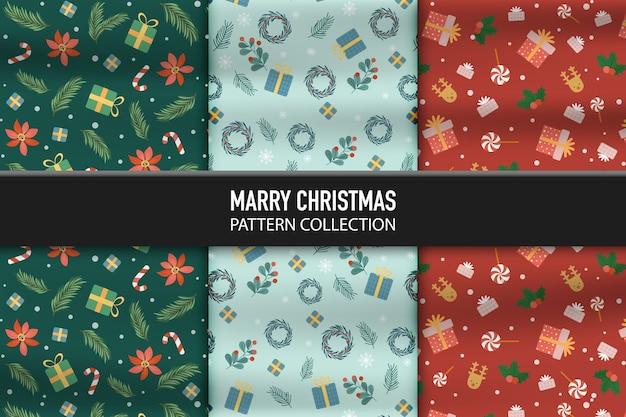 Satz muster mit geschenkbox und dekorationsikonen des glücklichen neuen jahres und des weihnachtstages