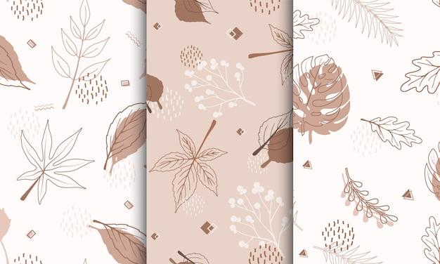 Satz mustermuster mit abstrakten herbstelementen, formen, pflanzen und blättern in einem linienstil.
