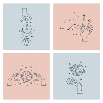 Satz mystischer astrologischer illustrationen