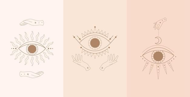 Satz mystischer augen mit frauenhänden. illustration im boho-stil