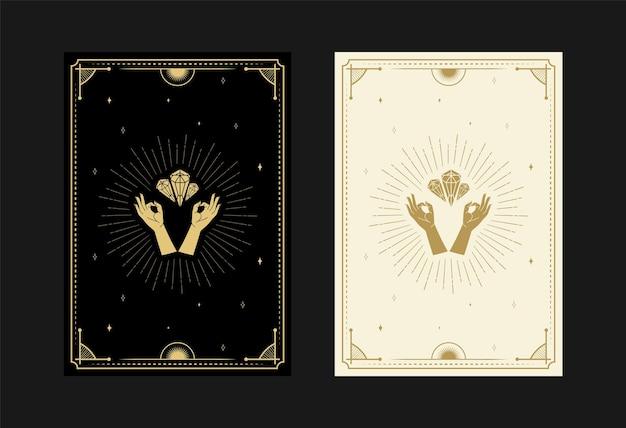 Satz mystischer tarotkarten alchemistische doodle-symbole gravur von sternen diamantstrahlen und kristallen