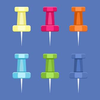 Satz nadelstiftnadel in verschiedenen farben