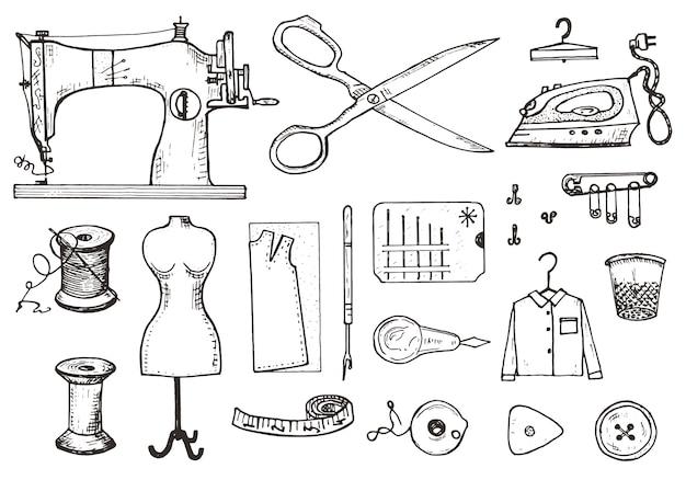 Satz nähwerkzeuge und materialien oder elemente für handarbeiten. handgemachte ausrüstung.