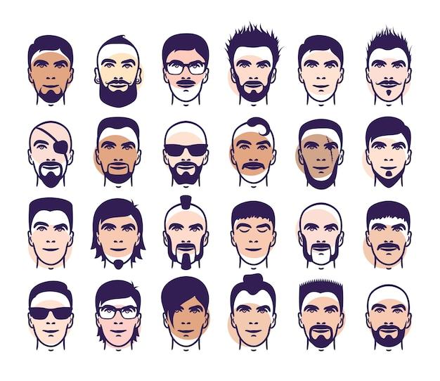 Satz nahaufnahme verschiedener haar-, bart- und schnurrbartart-männerporträts
