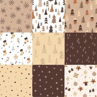 Satz nahtlose helle muster der frohen weihnachten. für tapeten, textilien, kulissen, geschenkpapier