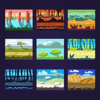 Satz nahtlose karikatur-landschaften