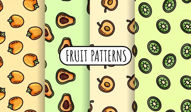 Satz nahtlose muster der bunten frucht. flaches design-kollektion Premium Vektoren