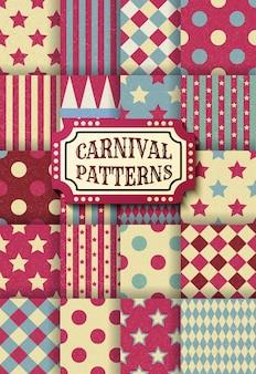 Satz nahtlose muster der retro- weinlese des karnevals auch im corel abgehobenen betrag. texturierte altmodische zirkustapetenvorlagen. sammlung von vektor-textur-hintergrundfliesen. für partys, geburtstage, dekorationselemente.