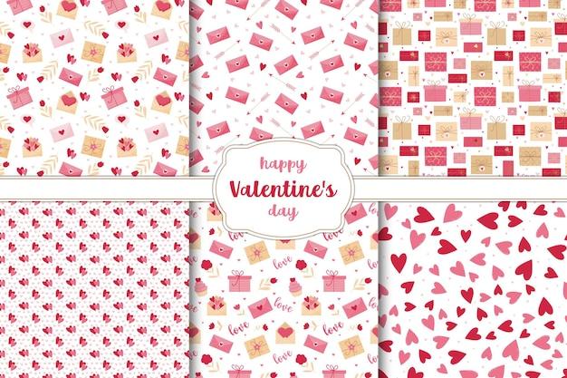 Satz nahtlose muster für valentinstag. herzen, blumen, buchstaben und geschenke auf einem weißen hintergrund.