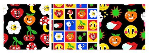 Satz nahtlose muster. handgezeichnete bunte lustige charaktere: emoticons, früchte, blumen, herzen, pilze. cartoon-vektor-illustration zum drucken auf stoff, tapete, hintergründe.