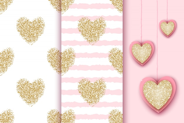 Satz nahtlose muster mit goldenen funkelnden herzen auf weißem und rosa streifenhintergrund, realistische herzikonen für valentinstagfeiertag, geburtstag, babyparty.